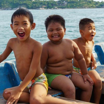 Happy kids on a boat – Koh Phangan